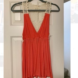 Coral Lace-Back Flowy Top